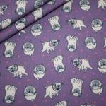Baumwollstoff Mops Hunde lila