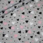 Jersey Stoff grau meliert Herzen rosa Sweetheats