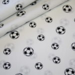 Baumwollstoff Mini Fußball weiß schwarz