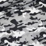 Baumwollstoff Camouflage grau schwarz