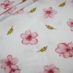 Dünner Tencel Modal Viskose Jersey Stoff Blumen Cherry Blossom creme rosa