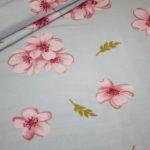 Dünner Tencel Modal Viskose Jersey Stoff Blumen Cherry Blossom grau rosa