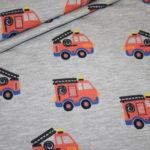 Jersey Stoff grau meliert Feuerwehr