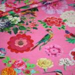 Happiness Jersey Stoff pink Blumen Vögel