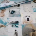 Fotoprint Digitaldruck Dekostoff Arktis Eisbär Pinguin Wolf Wal