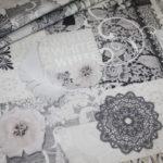 Fotoprint Digitaldruck Dekostoff Weiß Blumen Ranke