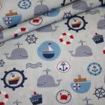 Baumwollstoff Maritim Boote Wal Anker grau
