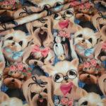 Stenzo French Terry dünner Sweatshirt Stoff blau Hunde