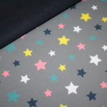 Soft Shell Softshell Outdoor Jackenstoffe grau Sterne bunt