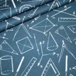 Baumwollstoff blau Schule Mathe Rechnen Geodreieck