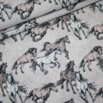 Baumwollstoff Pferde rosa
