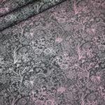 Jersey Stoff grau rosa Muster Spotlight