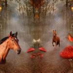 Stenzo Jersey Stoff Panel Pferd Pferde braun