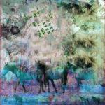 Stenzo Jersey Stoff Panel Bild bunt Pferde Blumen türkis