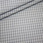 Hilco Seersucker Baumwoll Stoff Vichy Karo grau