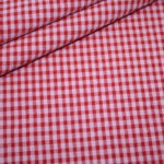 Hilco Seersucker Baumwoll Stoff Vichy Karo rosa rot