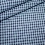 Hilco Seersucker Baumwoll Stoff Vichy Karo blau
