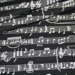 Baumwollstoff Noten Musik schwarz