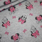 Original Walt Disney Dünner French Terry Jersey Stoff grau mit Minnie Maus
