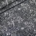 Jersey Stoff grau schwarz Muster Spotlight