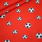 Baumwollstoff Mini Fußball rot