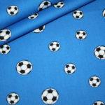 Baumwollstoff Mini Fußball blau