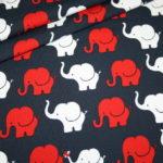 Jersey Stoff Elefant blau rot