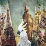 0,75m Stenzo Jersey Stoff Panel Giraffe in Paris Katze in Venedig Papagei in London (Grundpreis: 19,86€)