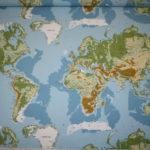 Deko Stoff Baumwollstoff Weltkarte