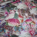 Stenzo Jersey Stoff Blumen Ranken Muster Vögel lila bunt