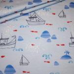 Hilco Jersey Stoff Maritim Fische Captain Boat Boote blau weiß