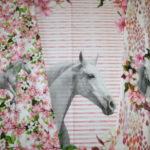 0,75m Stenzo Jersey Stoff Panel Flower Pferde (Grundpreis: 19,86€)