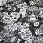 Jersey Stoff Totenkopf schwarz weiß