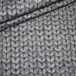 Dünner Sweat Soft Gots Jersey Stoff Cosy Strick Look dunkel grau