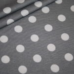 Dünner Viskose Jersey Stoff grau große Punkte weiß