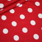 Dünner Viskose Jersey Stoff rot große Punkte weiß