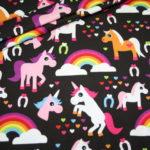Jersey Stoff Rainbow Einhörner Einhorn Pferde schwarz bunt