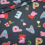 Original Peppa Wutz Pig Jersey Stoff grau Buchstaben