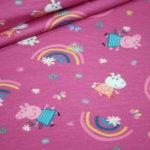Original Peppa Wutz Pig Jersey Stoff pink Regenbogen