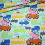 Original Peppa Wutz Pig Jersey Stoff blau Autos