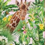 0,80m Frottee Stoff Panel Giraffe (1 Meter:19,80€)