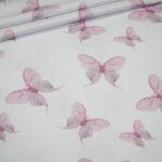 Jersey Stoff weiß Schmetterlinge rosa