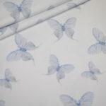Jersey Stoff weiß Schmetterlinge blau