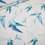 Jersey Stoff weiß Schwalben türkis blau