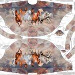 PONCHO Panel Kinder Stenzo French Terry Stoff Pferde braun 1,25m(1mGrundpreis: 17,52€)