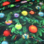 Fotoprint Digitaldruck Jersey Weihnachten Weihnachtsbaum Tanne Kugeln