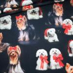 Fotoprint Digitaldruck Jersey Weihnachten Hunde Schleifen