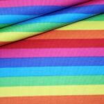 Jersey Stoff bunte Schmale Streifen Rainbow