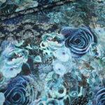 Stenzo Jersey Stoff Blumen Ranken Muster blau