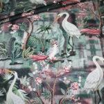 Stenzo Jersey Stoff Blumen Ranken Muster Vögel altrosa beige
